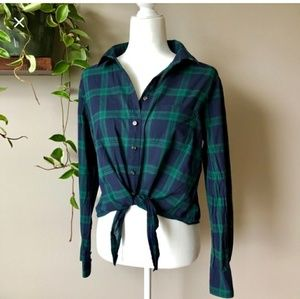J Crew Button Down Plaid Top
